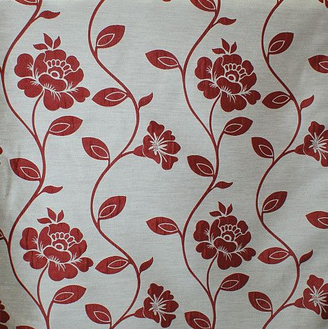 Smd Fabrics Aisha Poppy Red Floral Jacquard Designer Curtain Fabric Roll Ebay Curtain Designs Floral Red Poppies