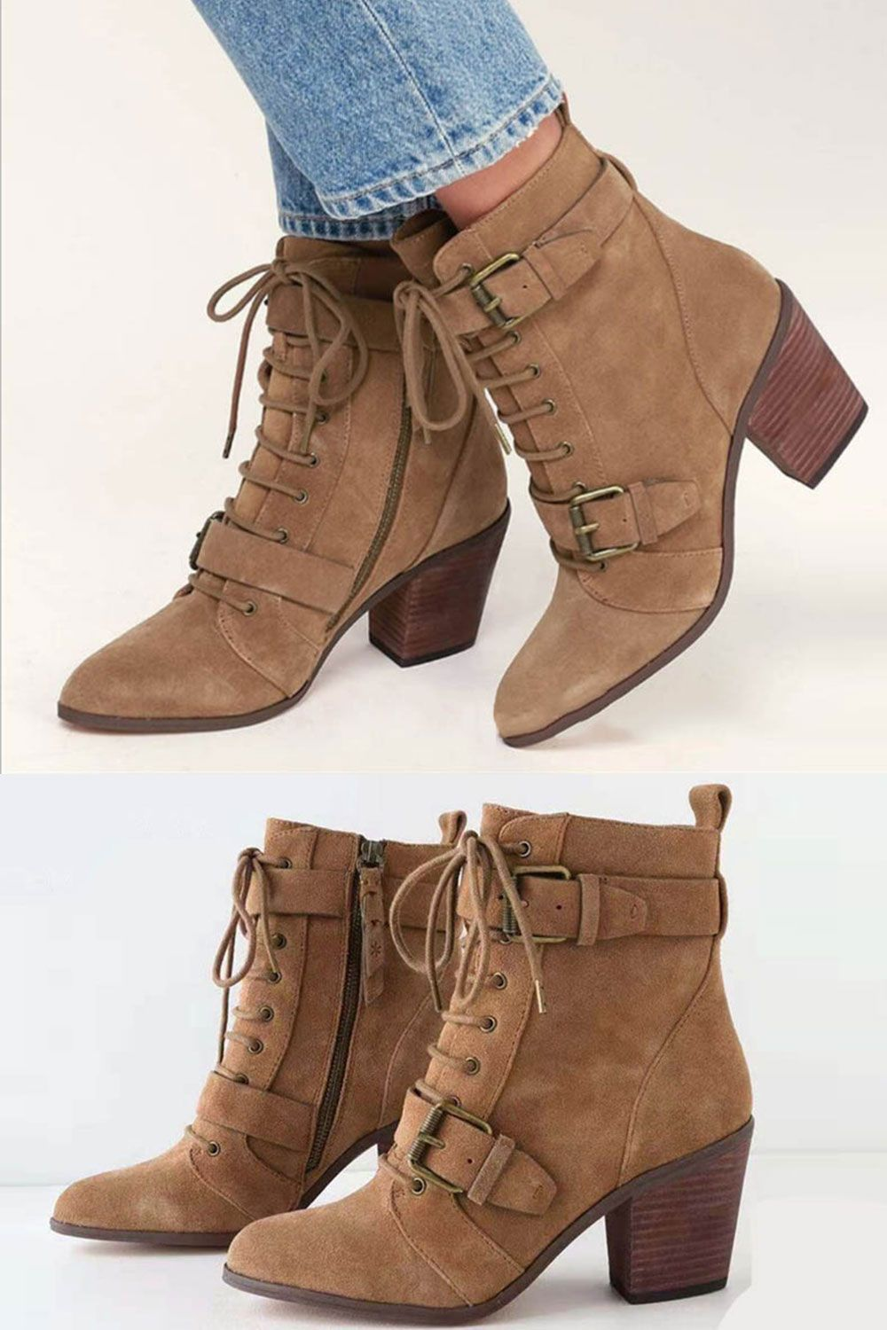 61f6b22985e Stylish Round Toe Side Zipper Buckle Ankle Boots in 2019