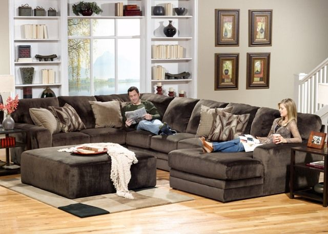 Our Chocolate Heaven Sectional Has That Plush Deep Seated Design That Invites Your Family And Fri Warm Living Room Design Stylish Living Room Jackson Furniture