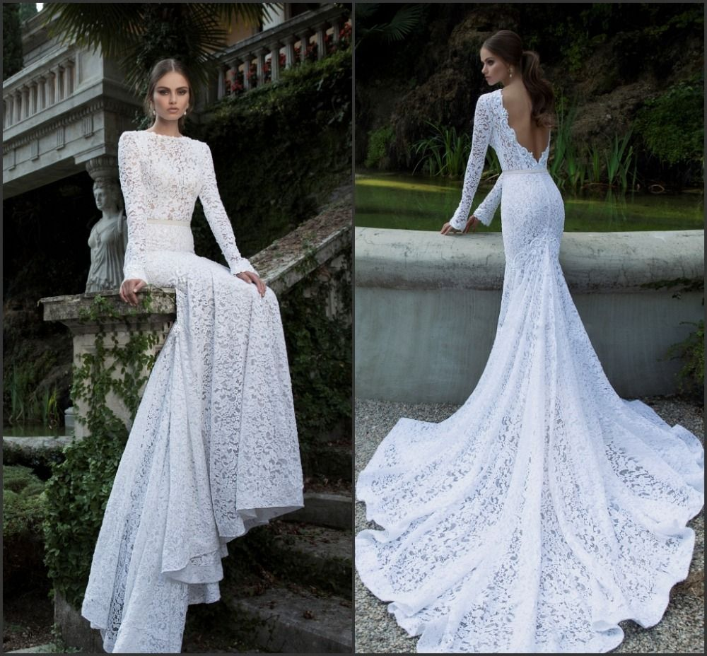 The Back Is So Pretty 2014 Berta Vintage Lace Wedding Dresses