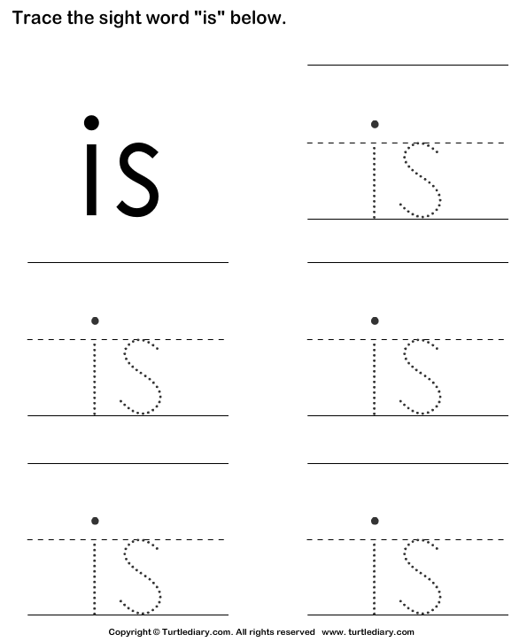 Download And Print Turtle Diarys Sight Word Is Tracing Sheet