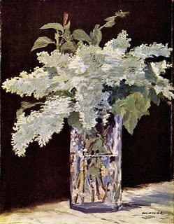 """Manet, 'Lilacs In a Vase, c 1882, Nationalgalerie, Berlin -""""During his long final illness, Manet began to paint beautifully aphoristic pictures of flowers in crystal vases. His subjects were the posies friends brought to his Paris sickroom, in this case white lilac."""""""