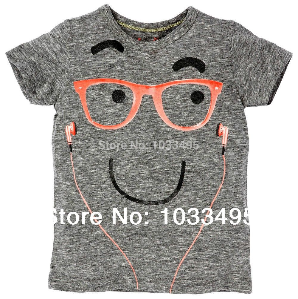 Design t shirt kid - Free Shipping Summer Kids Boys T Shirts Glasses Headset Design Fashion Cotton Children Clothes Leisure Shirt