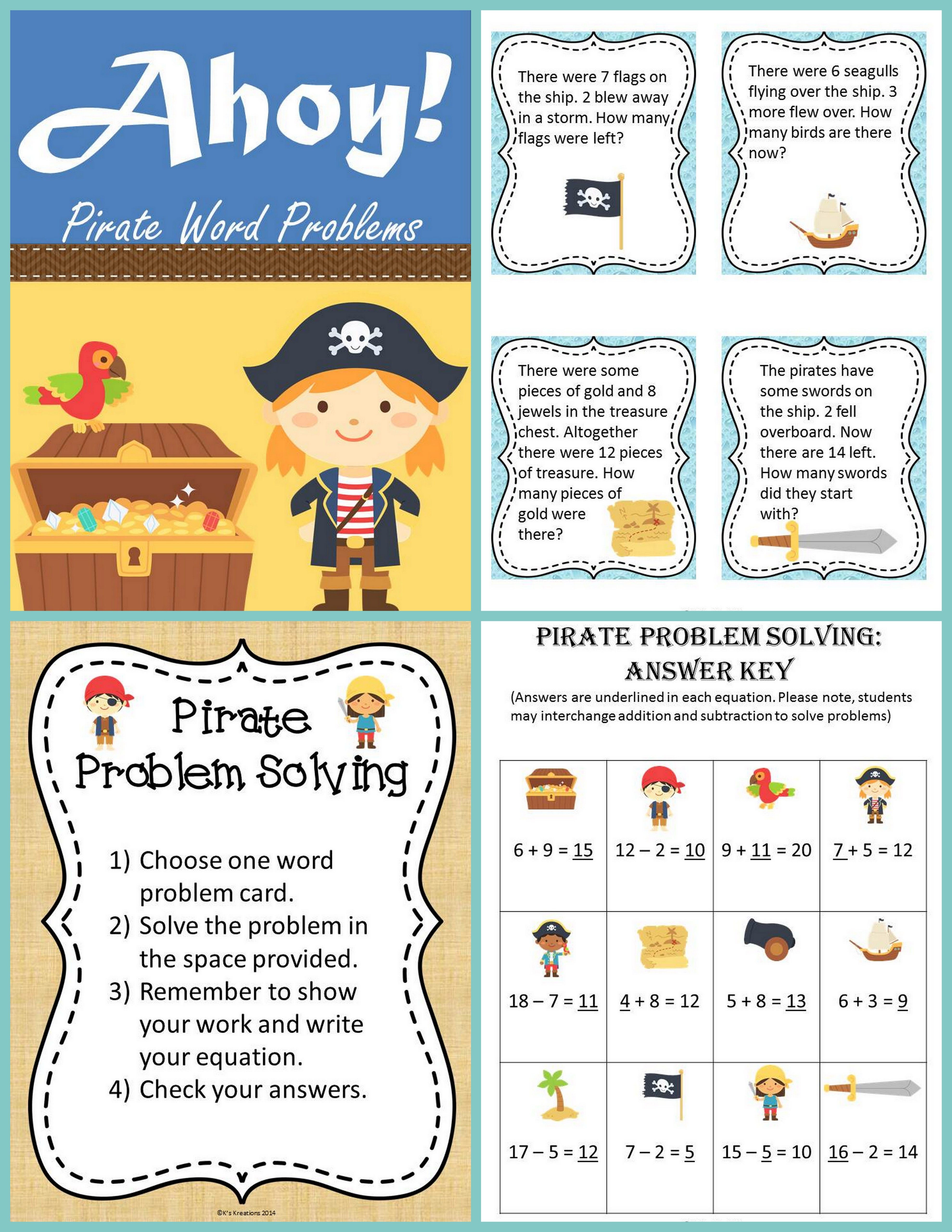 Practice Addition And Subtraction Common Core 1 Oa 1 To 20 With This Pirate Themed Math Subtraction Word Problems Addition And Subtraction Word Problems [ 5120 x 3957 Pixel ]