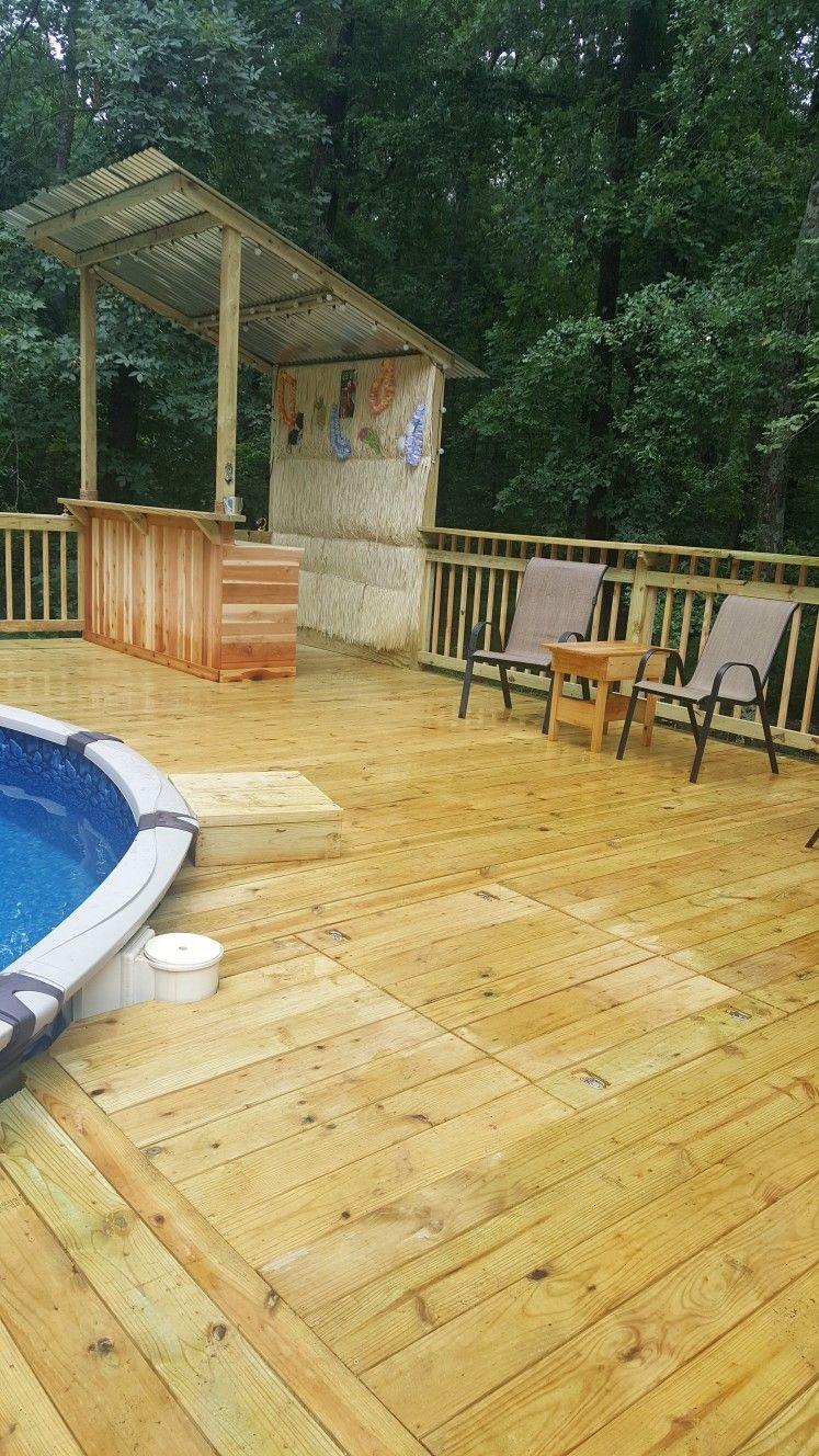 Poolside deck tiki bar Patio, Backyard, Poolside