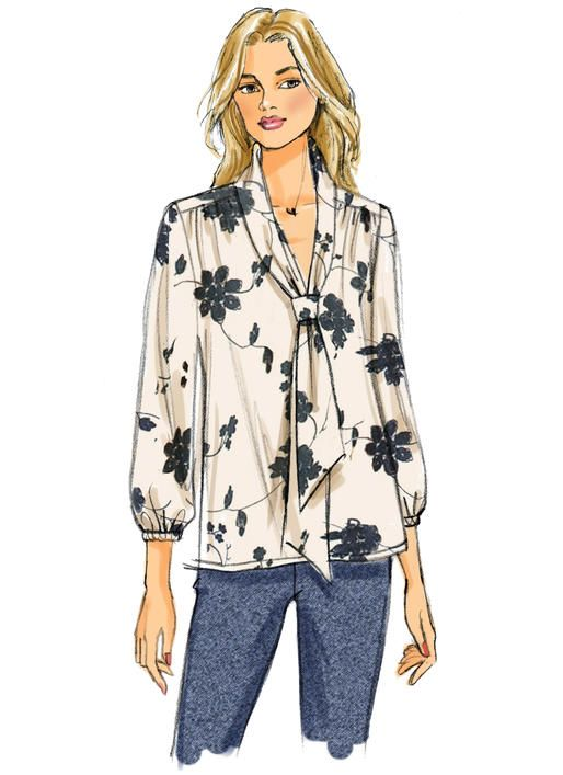 Tie Neck Tops And Blouses Sewing Pattern From Butterick B6378