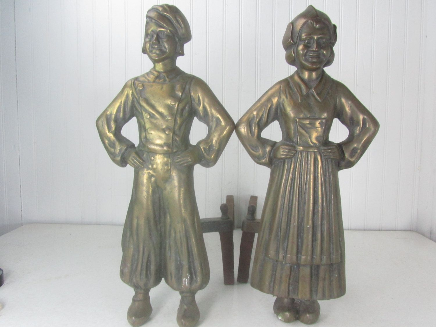 Antique Dutch Boy And Girl Andirons Brass Andirons Iron Firedogs Cast Iron Andirons By