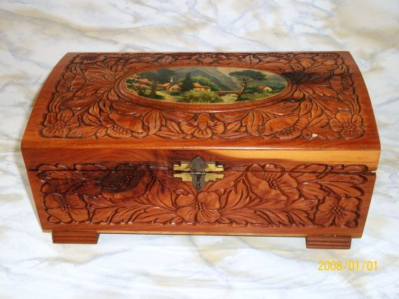 Hand Carved Cedar Jewelry Box 1930s Antique Mirrored Wooden Keepsake