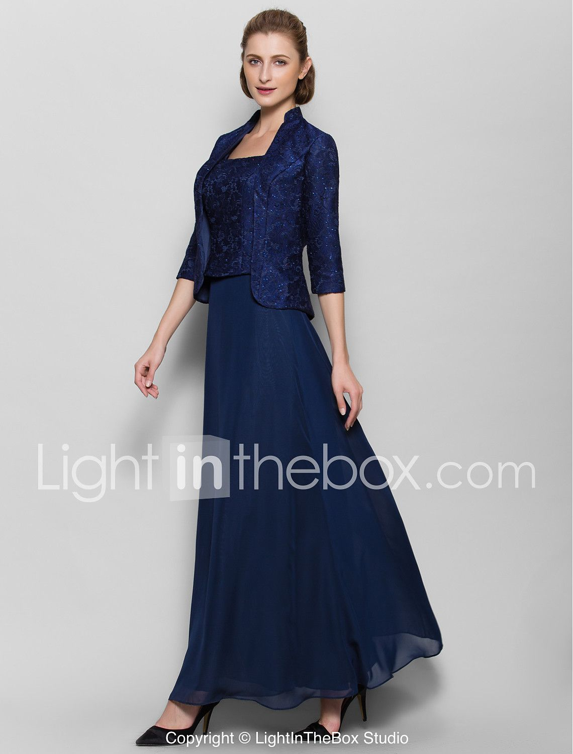 Sheath column square neck anklelength lace mother of the bride