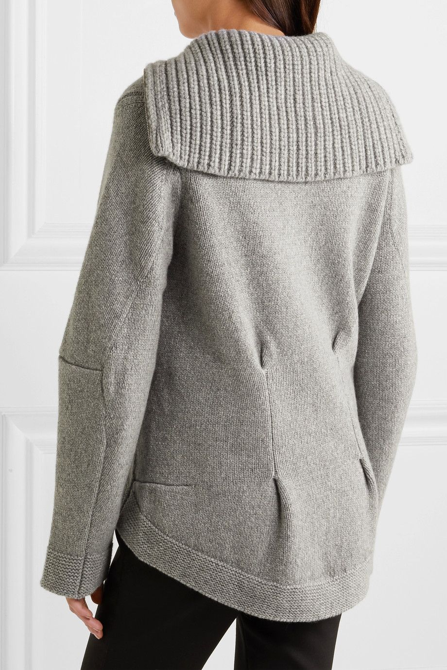 Light-gray cashmere Zip fastening through front 100% cashmere Dry ...