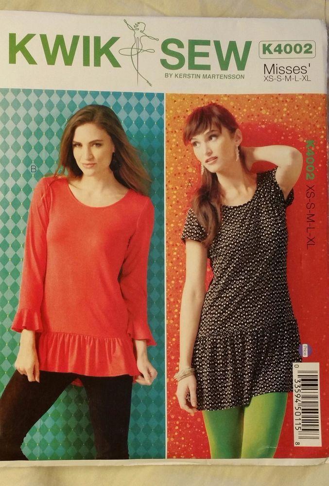 Kwik Sew Pattern K4002 Misses\' Tunics 2 Styles sizes XS-XL NEW