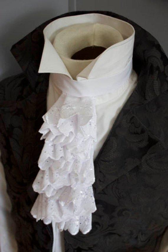 903c13e4ba3748 Regency Historic Victorian White Embroidered Floral Cotton JABOT - Lace  Ascot Cravat Necktie Tie