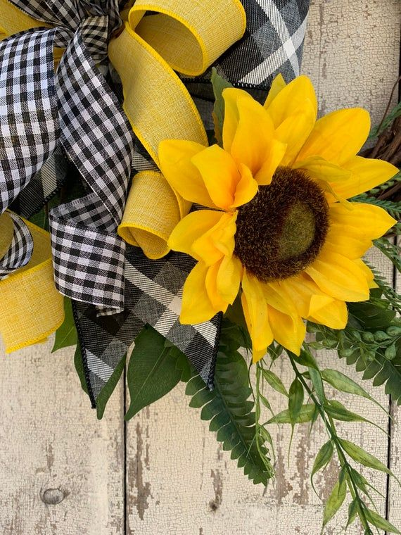 Photo of BEST SELLER sunflower wreath, summer wreaths for the front door, year-round wreath, autumn wreaths, free shipping