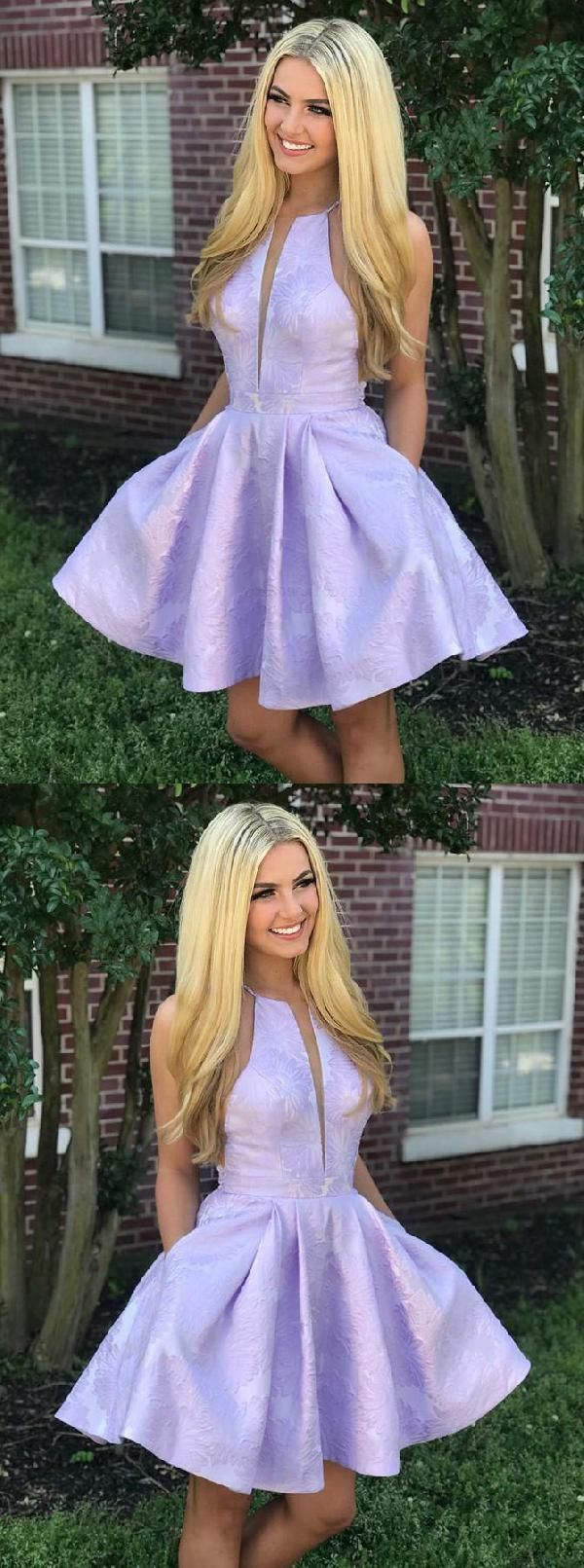099a7fc1917 Soft Party Dress A-Line A-Line Crew Above-Knee Lilac Satin Printed  Homecoming Dress With Pockets