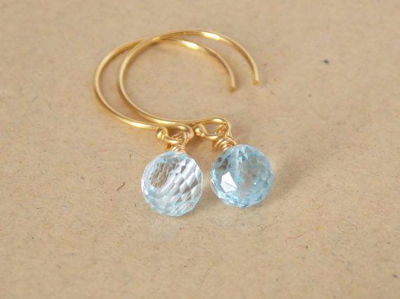Sky Blue Topaz Briolette Dangle Earrings on Etsy, $27.00