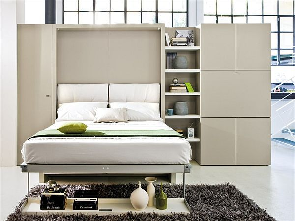 Storage wall with Pull-Down Double Bed 1