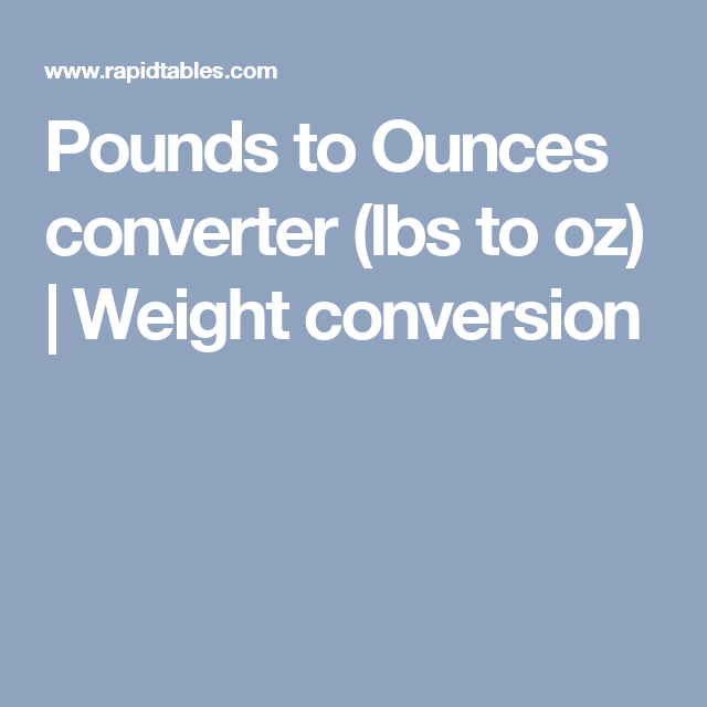 Pounds To Ounces Converter Lbs To Oz Weight Conversion Fitness