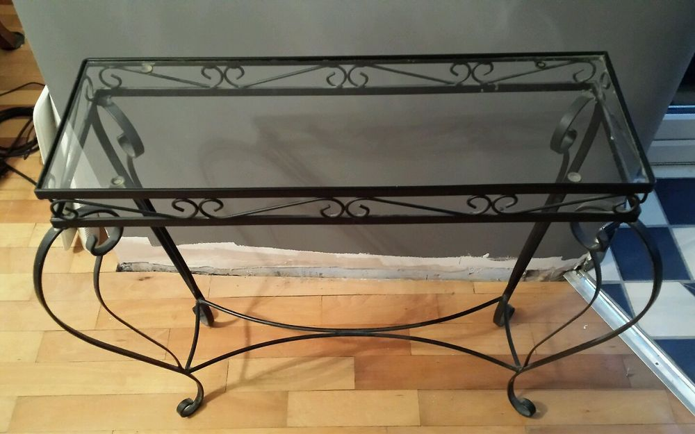 Wrought Iron Black 60s Inspired Ornate Console Hall Table Dimensions 71cm X24cm Glass Top Legs Slightly Wider Due To Cu Hall Console Table Wrought Iron Table
