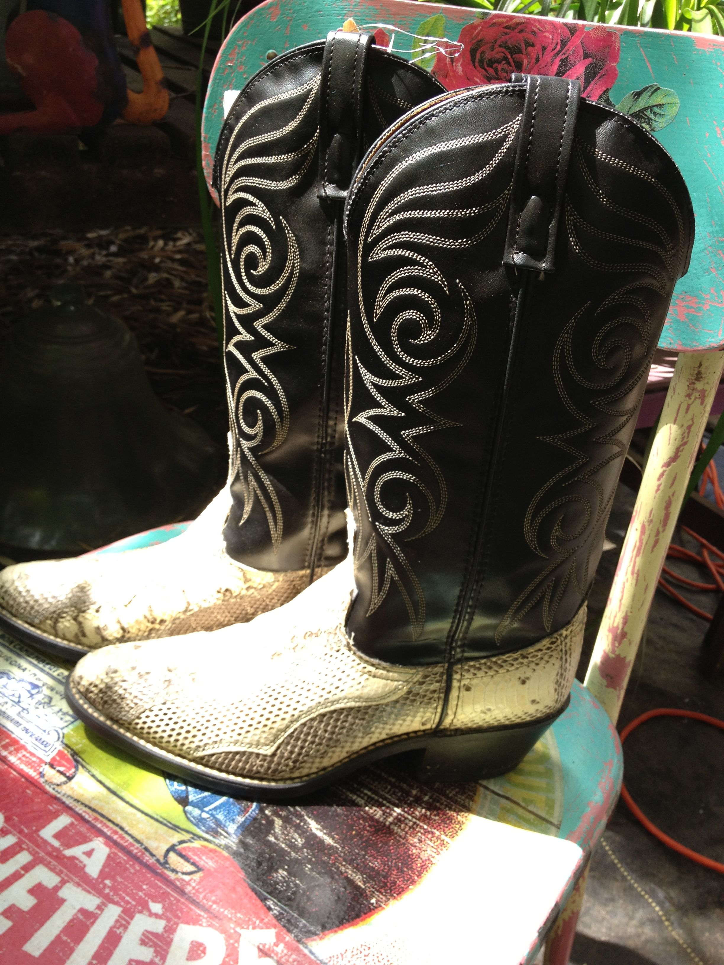 #Cowboy Boots by Rio Grande  boot number 3 Very soft leather and two tone snake skin boots Men's size 8 D $180.00 Like us @ Tollen Farm on Facebook