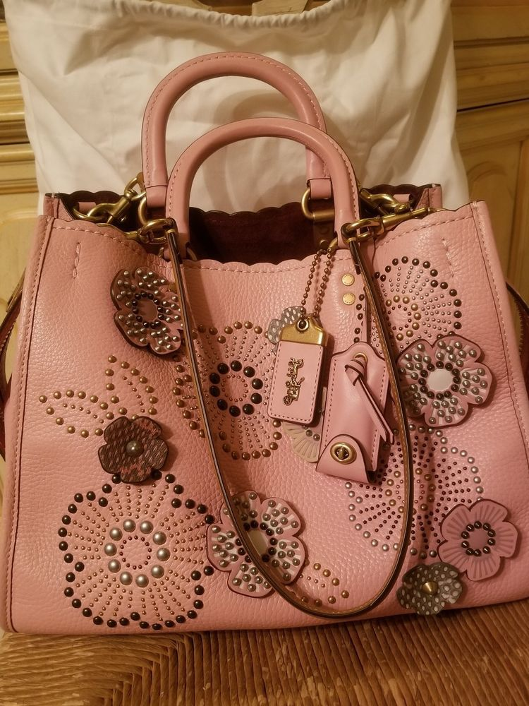 d8d832ec76 Coach 1941 Rogue With Snakeskin Tea Rose Rivets Pebble Leather Peony  995