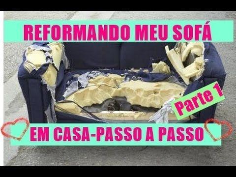 Reformando meu sofá em casa - DIY-VEM VER- O SEGREDO DO PAPELÃO -Parte 1...