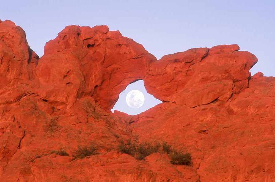 Kissing Camels Formation With Full Moon In Arch In Garden Of The