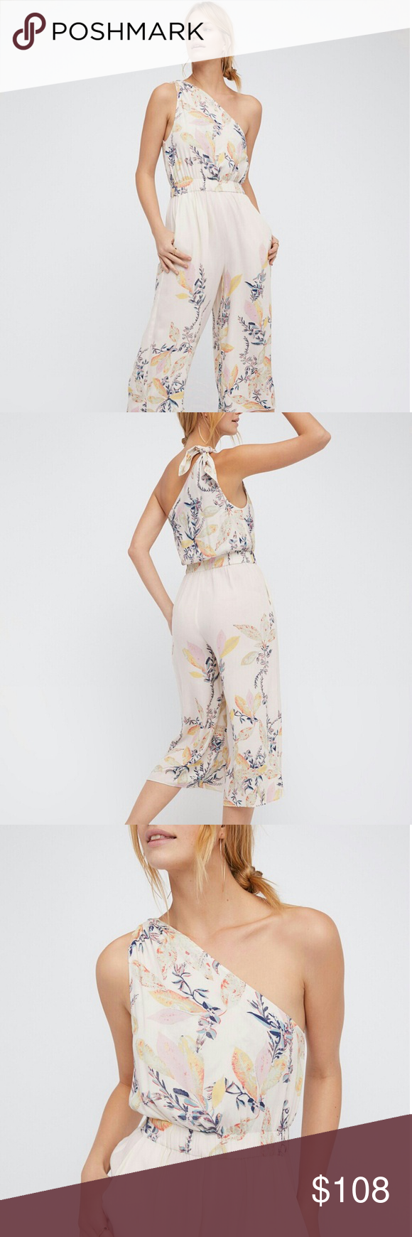 Free People Romper Sz L, NWT, pink color. Adjustable knotted one side design. Elasticized band at waist. Has pockets, unlined. Free People Pants Jumpsuits & Rompers