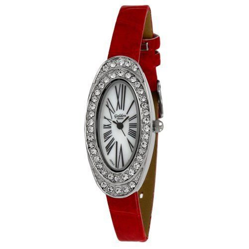Golden Classic Women's 5146_red Spring Fling Oval Rhinestone Crocodile-Print Leather Watch Golden Classic. $21.60. Water-resistant to 99 feet (30 M). Mother of pearl dial with roman numeral hour markers. Crocodile pattern band with silver buckle. Highest standard Quartz movement. Oval case with two rows of rhinestones; Mineral crystal