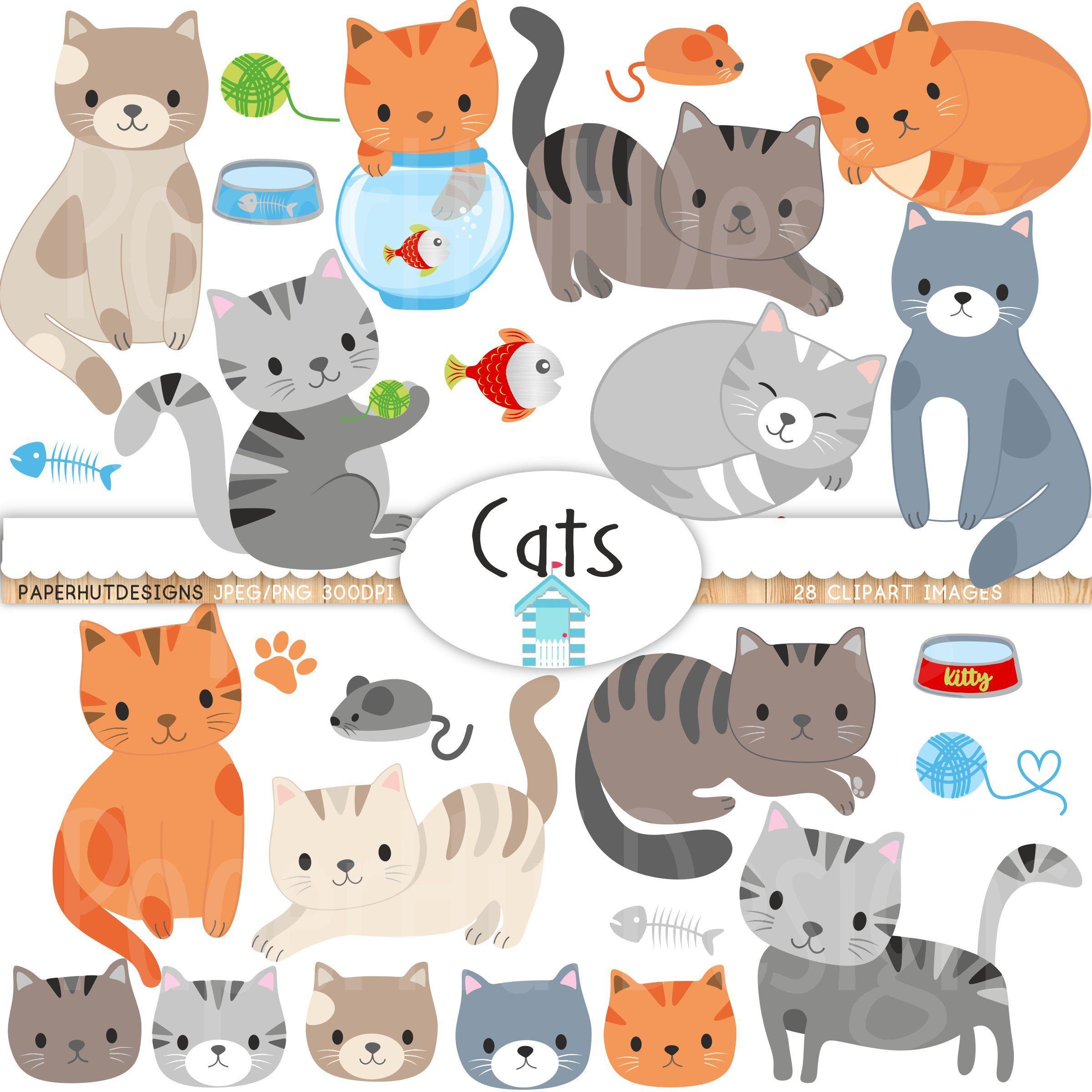 Cat Clipart Cute Cat Clip Art Kitties Clipart Kitten Etsy Cat Clipart Clip Art Dog Clip Art