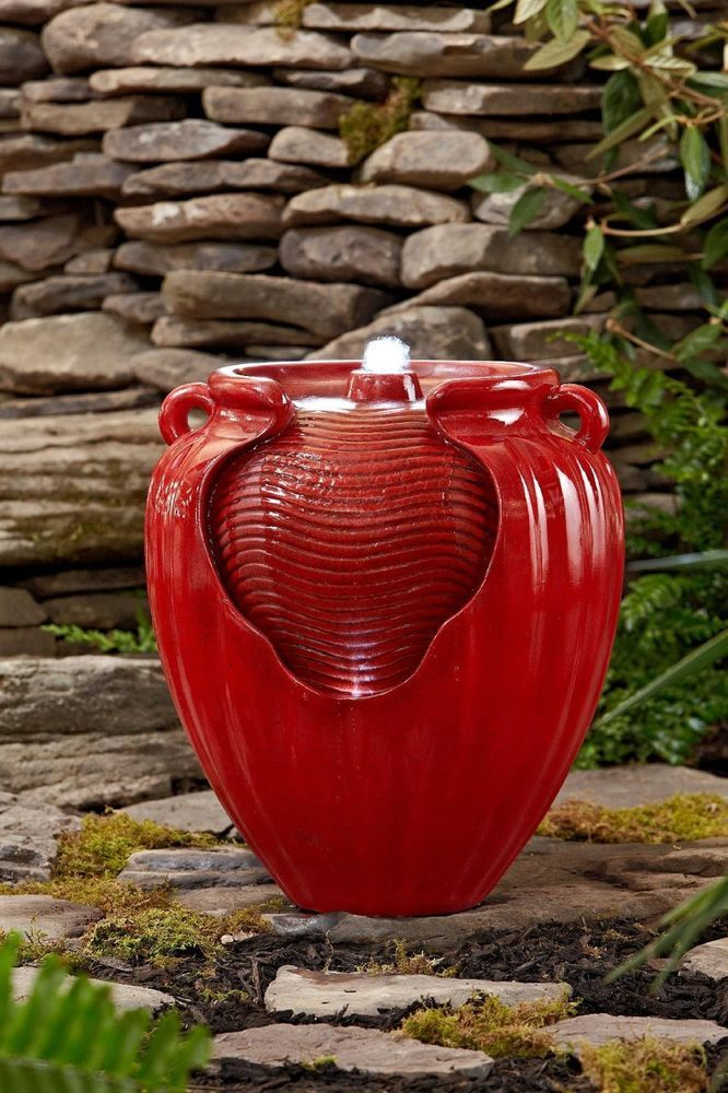 Outdoor Garden Fountain Water Red Waterfall Pottery Patio Yard Decor Solar Led