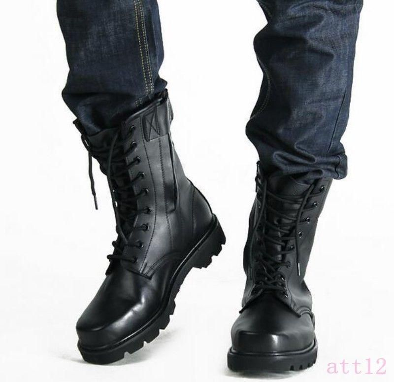 a1e765a67ad Hot Mens Ankle Black Boot Lace Up Pu Leather Motor Shoes Military ...