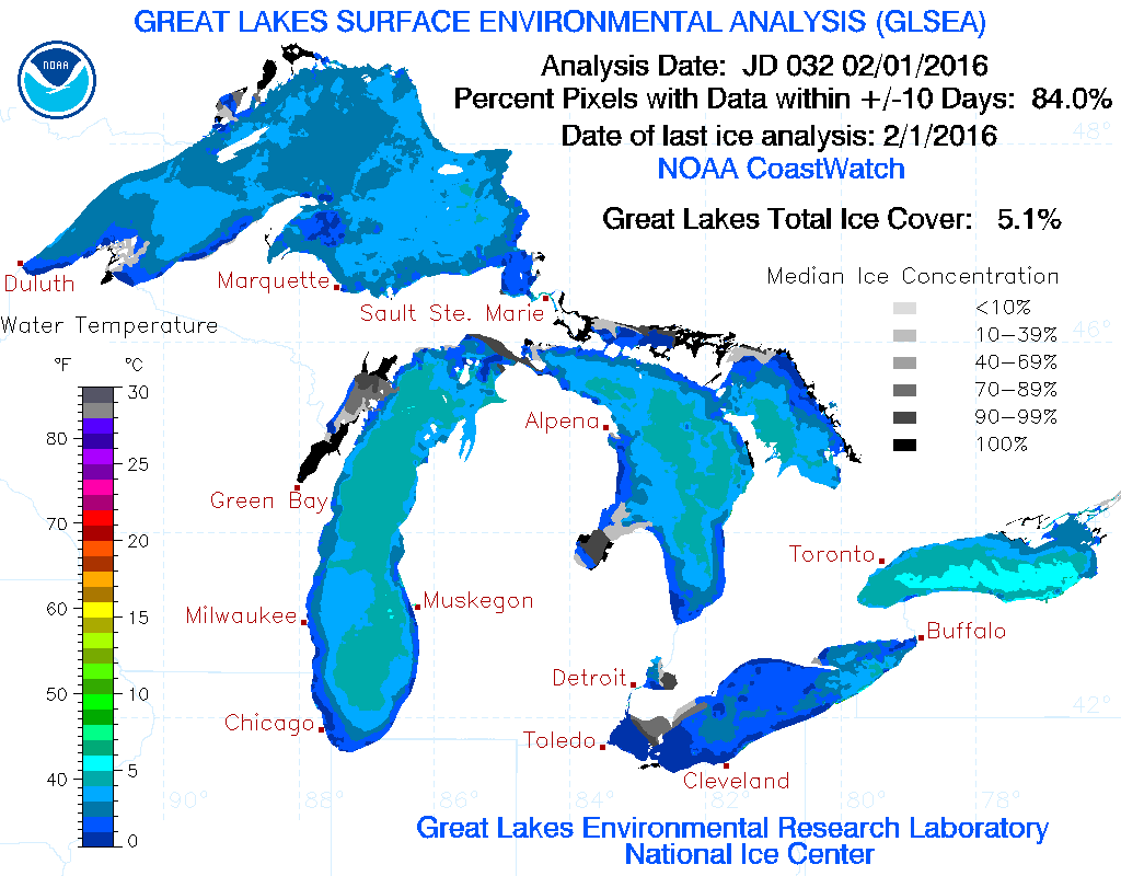 Great Lakes Ice Report For 2 3 16 Ice Level Plummets To 5