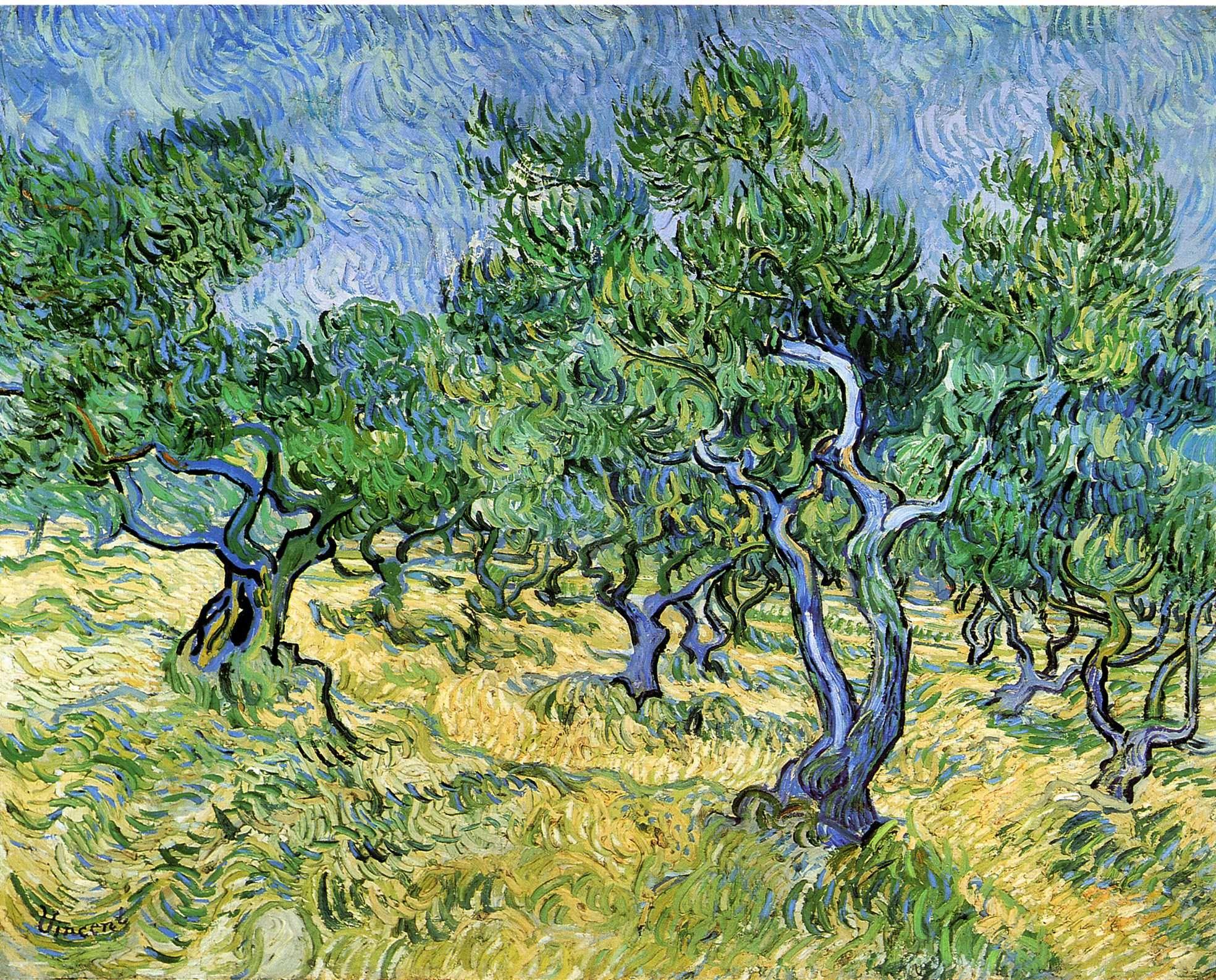 Olive Grove - Vincent van Gogh - 1889 - Place of Creation: Saint-Rémy, Provence, France.............#GT