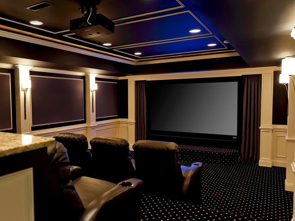 This Extravagant Home Theater Was Designed With Comfortable Theater Style Seating To Accommodate Yo Small Home Theaters Home Theater Setup Home Theater Seating