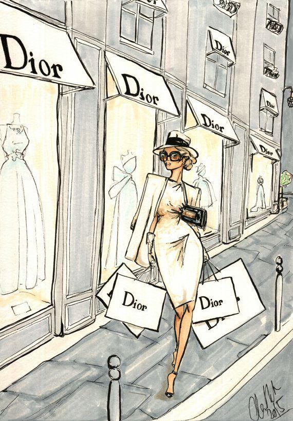 Fashion Illustration Dior in Paris Giclee by AlexDouglasNewton