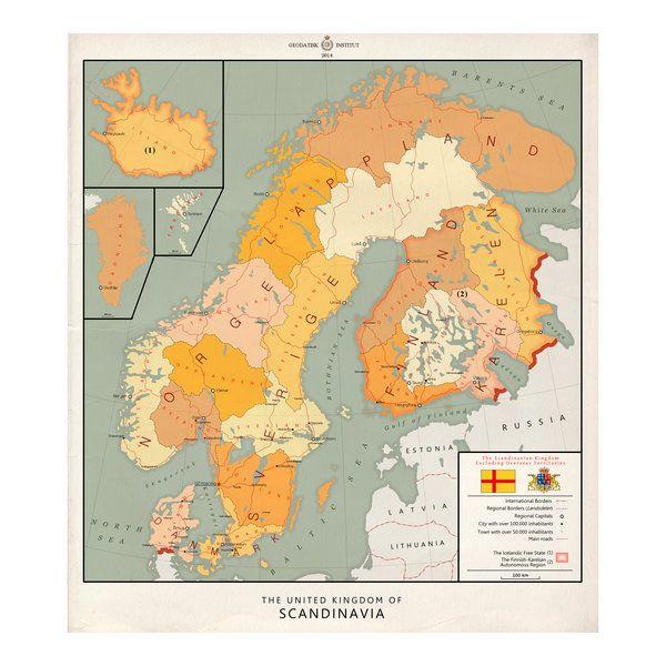 United Kingdom Of Scandinavia English By Kuusinen Print Image
