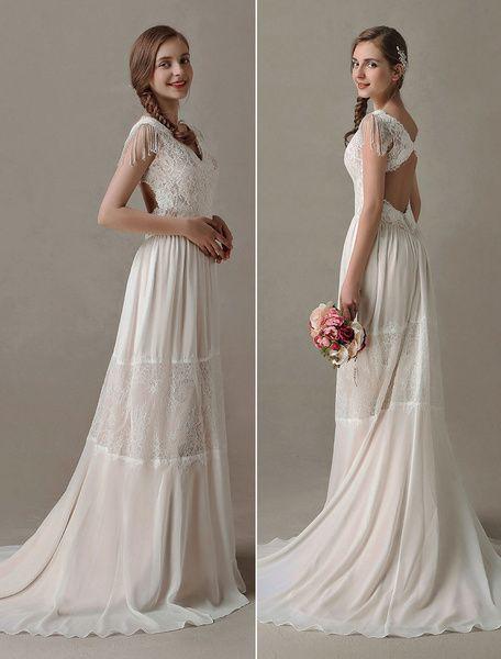 Robes de mariée Boho Gypsy dentelle mousseline de soie Summer Beach Dress V cou robe de mariée Champagne Backless avec train