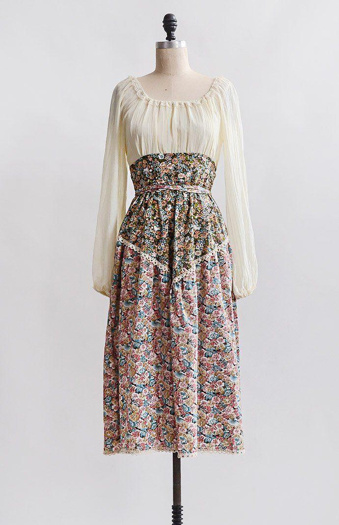 Beyond Provence Dress / vintage 1970s dress / 70s vintage dress