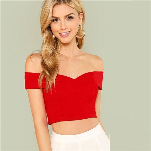 3863fdcb08d Women Sexy Deep V Neck Sleeveless T Shirt Slim Crop Top Side Zip.Red  Elegant Workwear Sweetheart Slim Crop Top Fold Over Bardot Sleeveless Cami  Women Summer ...