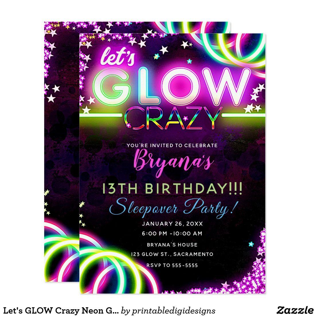 Neon Glowing Birthday Party Invitation