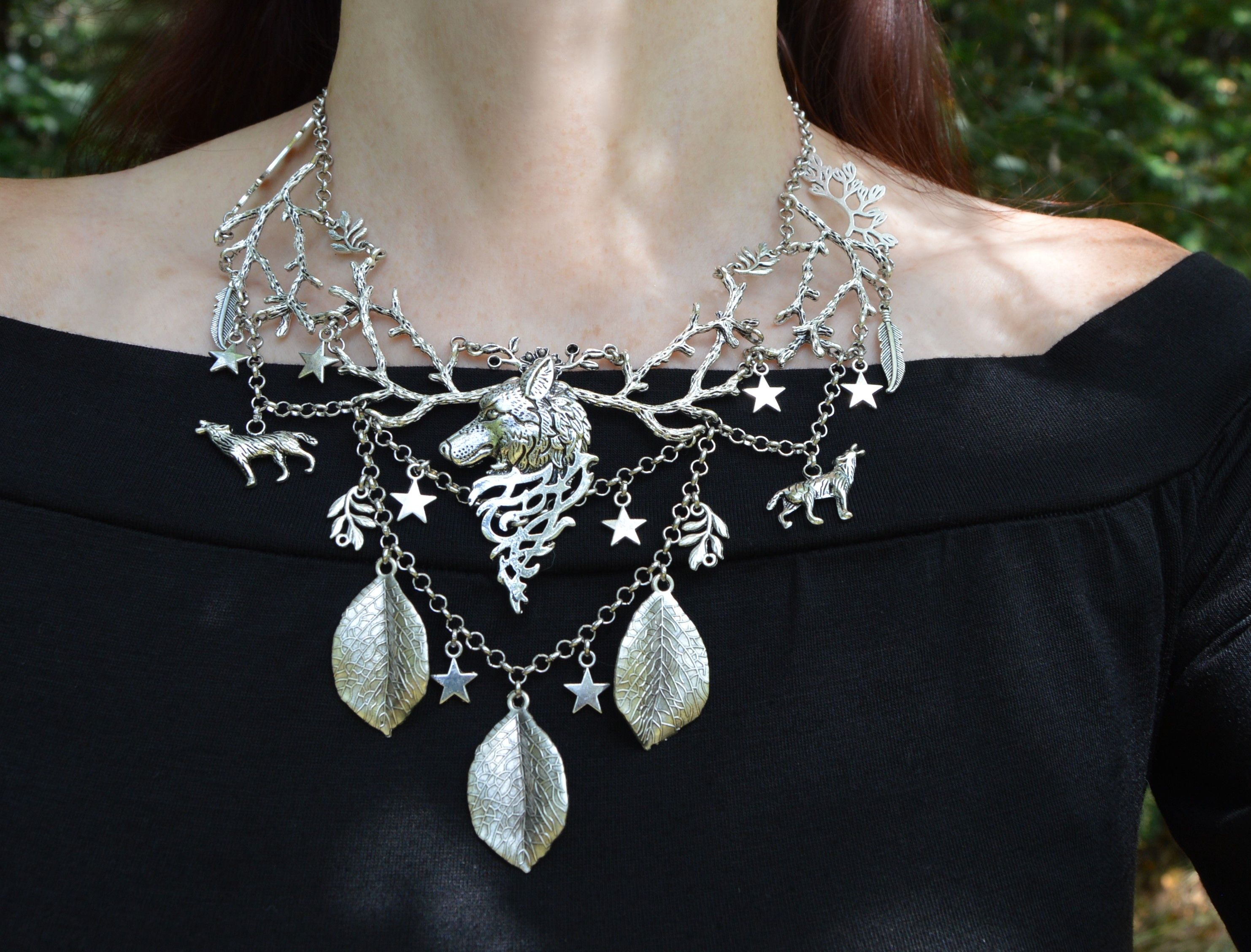 Opalite wolf necklace dark mori fashion wicca necklace white wolf jewelry witchy opalite necklace snow queen ice queen witch jewelry