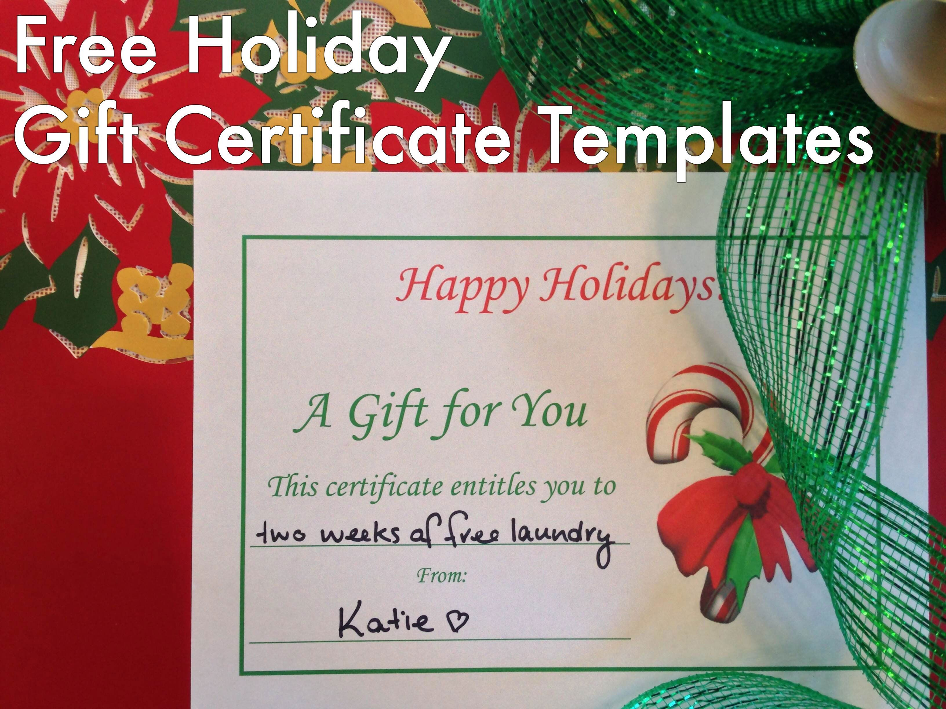 Free Holiday Gift Certificates Templates To Print Gift Certificate - Holiday gift certificate template free