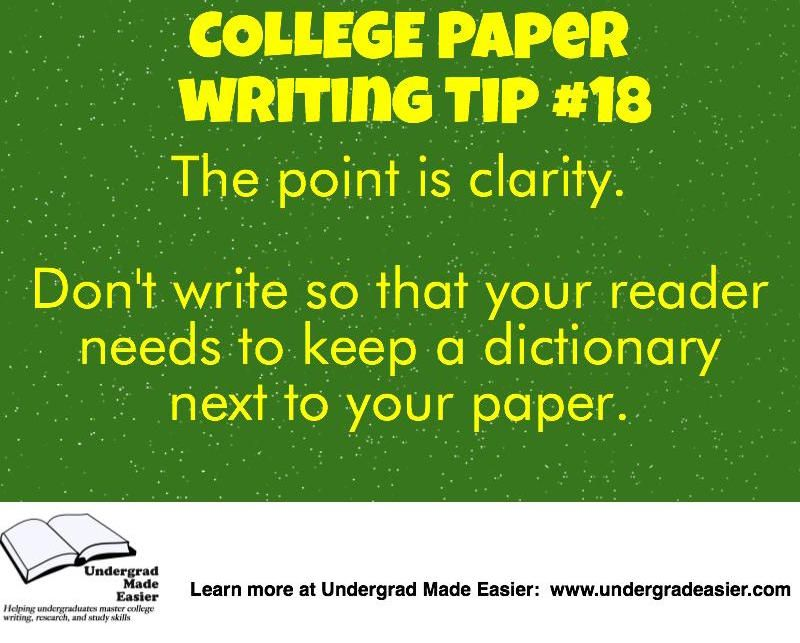 Writing Tips For College Papers Clear Writing Vocabulary
