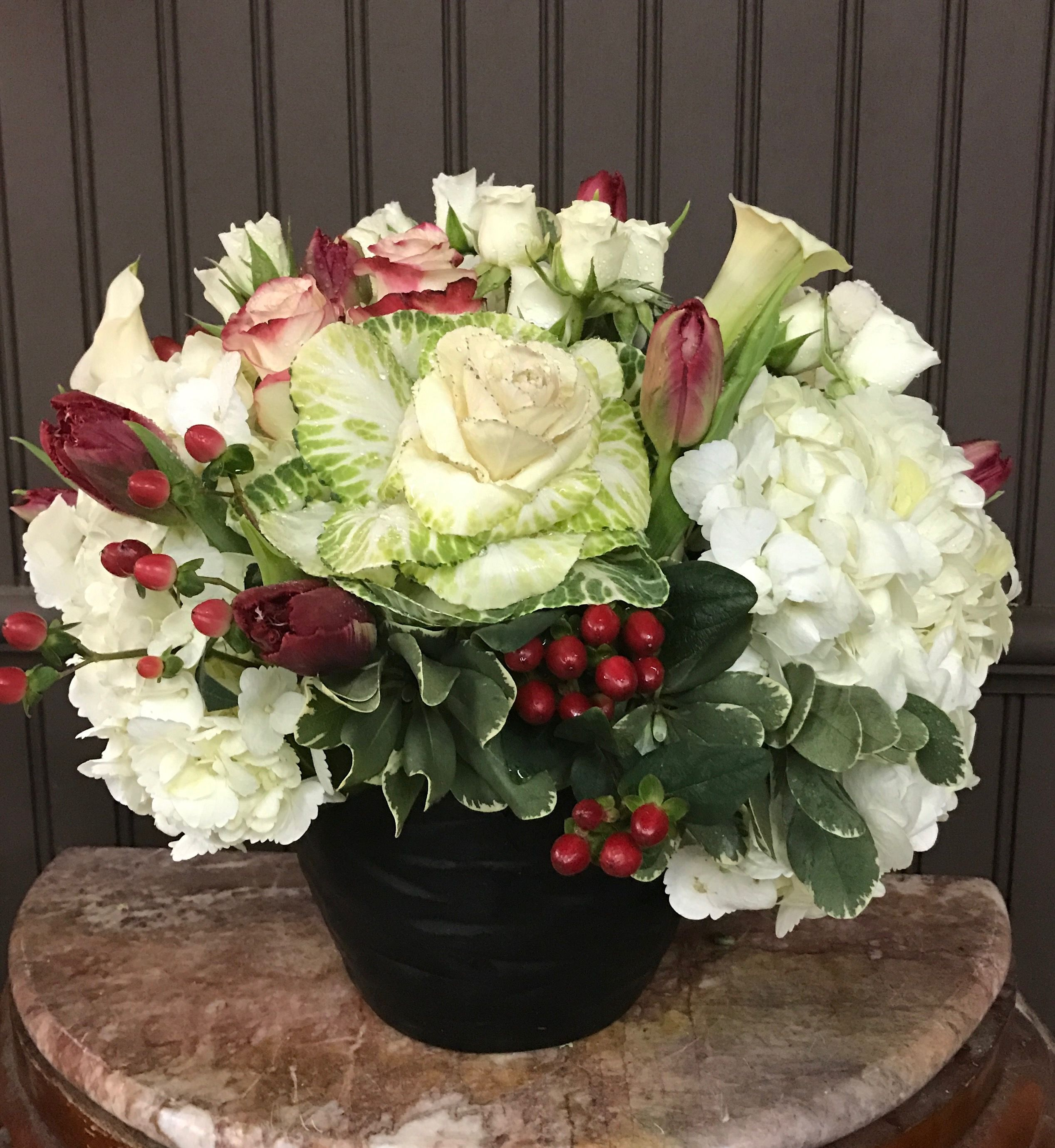 White Cabbage Hydrangea Roses And Berries Modern Arrangement In
