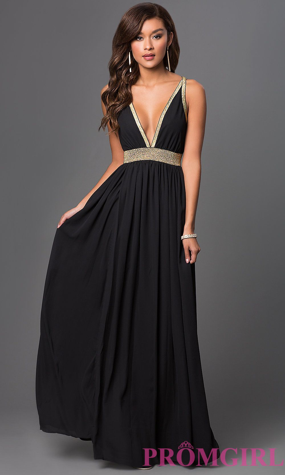 Image of long low vneck open back glitter detailing dress style cq