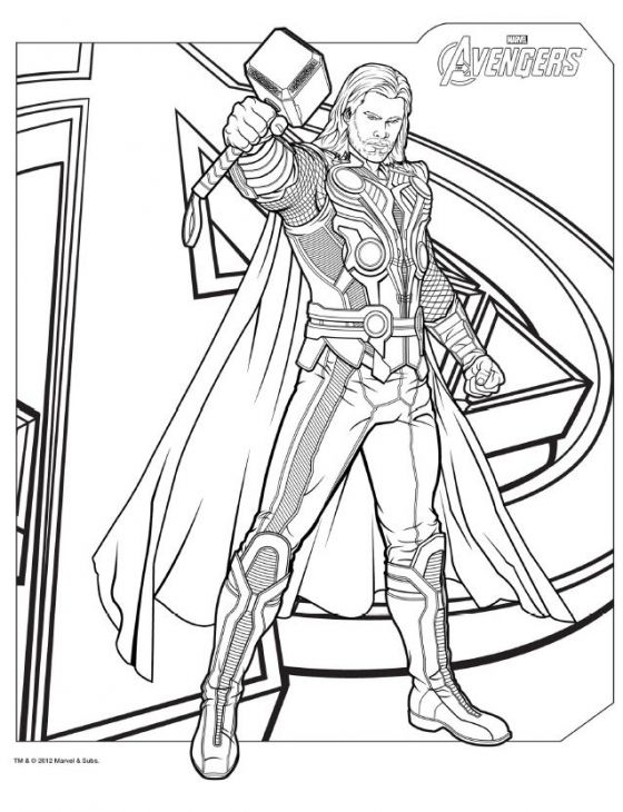 DemiGod Thor From Avengers Coloring Pages | Superheroes Coloring ...