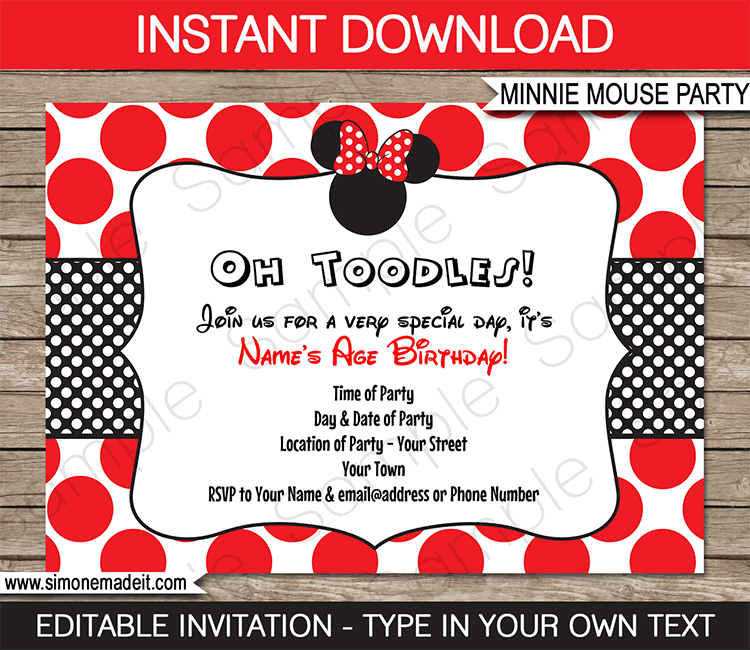 minnie mouse birthday party invitations template – red | party, Invitation templates