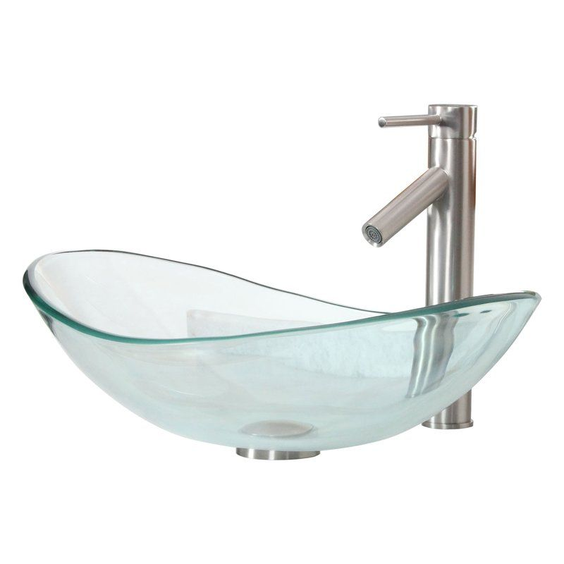 Tempered Glass Boat Oval Vessel Bathroom Sink with Price  $ 12899