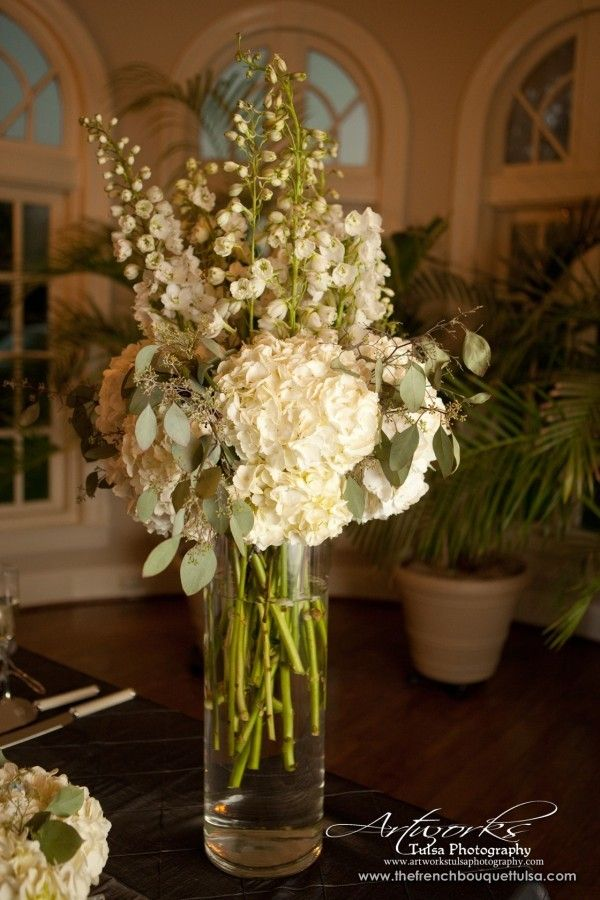 Tall Flower Arrangement With White Hydrangea