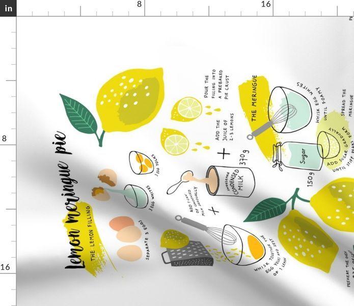 Colorful fabrics digitally printed by Spoonflower - Lemon Meringue Pie recipe tea towel #lemonmeringuepie
